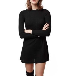 TOPSHOP Black Ribbed Tunic Dress